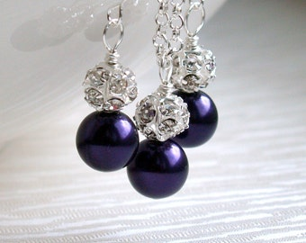 Dark Purple Necklace And Earrings Bridesmaid Gift Jewelry Set Necklace Earrings Wedding Party Purple Necklace Earrings Flower Girl Gift