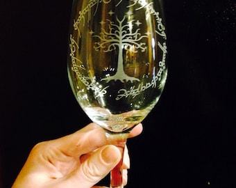 SALE! Lord of the Rings Inspired- Tree white wine glass with elvish scripture-HOT ITEM!