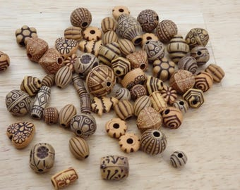 Mixed Shape Brown Tan Acrylic Beads. (oval round rose tree flower imitation wood carved rustic primitive craft boho bohemian mix spacer)