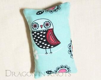 Owl Pocket Tissue Holder - Fabric Tissue Packet Cover - Light Aqua Blue Purse Accessory