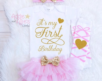 Pink and Gold First Birthday Outfit, 1st Birthday Girl Outfit, Cake Smash Pink and Gold Ballerina Birthday Outfit, It's My 1st Birthday B17P
