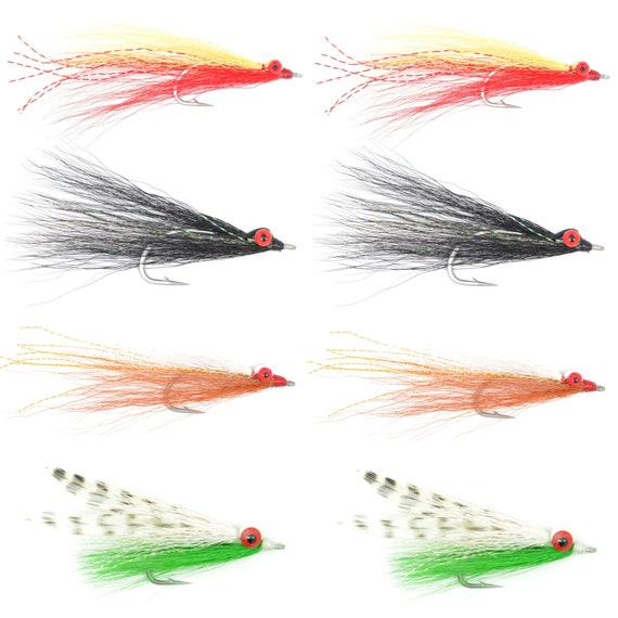 Clousers Minnow Fly Fishing Flies Collection - Assortment of 8 Saltwater and Bass Flies - Hook Size 1/0