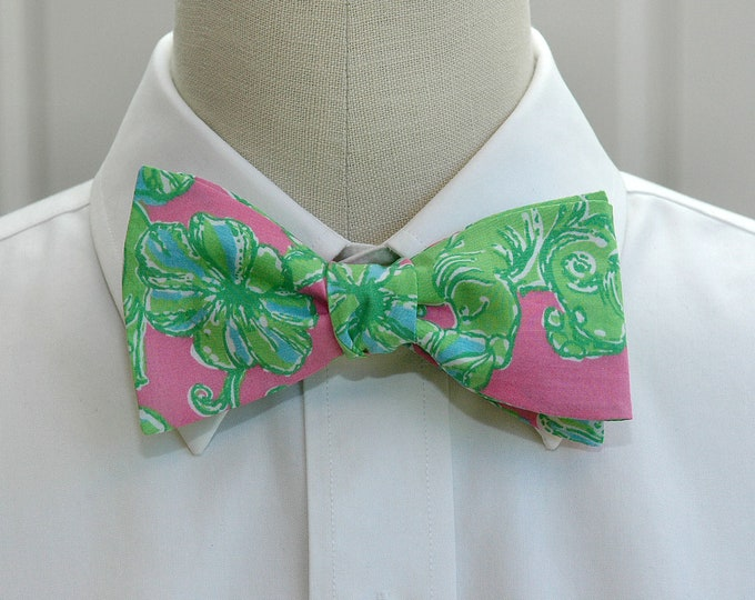Men's Bow Tie, pink/green/blue Charge It Lilly rhinoceros print, prom bow tie, wedding bow tie, groom bow tie, preppy bow tie, Derby bow tie