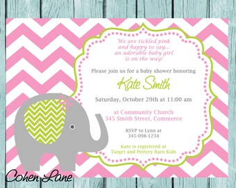Printable Pink Elephant Chevron Baby Shower Invitation. Customized Shower Invitation. Cute Pink Elephant Birthday Invitation.Elephant Invite