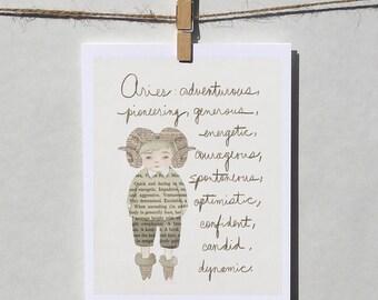Aries boy card Astrology card Zodiac card Astrological sign card