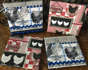 Spring Coasters , Summer Coasters, Rooster, Chicken, Rustic Coaster, Diane's Designs & Boutique, One of a Kind, Handmade