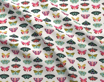 Moth Fabric - Moths // Butterflies Nature Botanical Fabric Print By Andrea Lauren - Moth Cotton Fabric by the Yard With Spoonflower