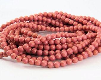 Czech Dusty Rose Beads 5MM Druk Opaque Round Begonia Pink Glass 50 Beads PDRUK5008-2