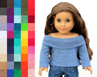 Fits like American Girl Doll Clothes - Off Shoulder Top, You Choose Color   18 Inch Doll Clothes