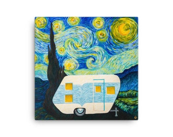 Starry, Starry Night Vintage Trailer on 16x16 Canvas