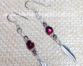 Red Wine Feather Dangle Earrings- French Hook Surgical Steel Wire- Beaded Fashion Earrings