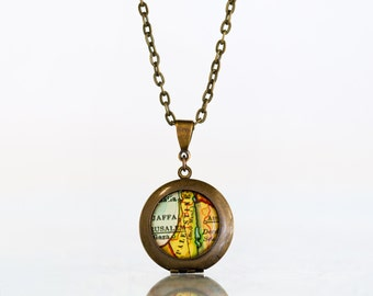 Palestine Locket, Palestine Map Locket, Gaza, Jaffa, Jerusalem