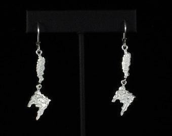 Trinidad & Tobago Map Earrings in .925 Sterling Silver