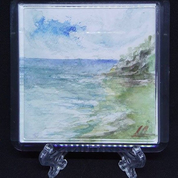 Watercolor Aquarelle Mini Paintings Sea Motives Original Art