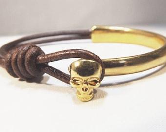 Skull bracelet, skull, skull jewelry, skull leather, leather jewelry, mens skull bracelet, skull bracelets, bracelet boho, skull charm