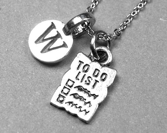 To Do List Necklace, to do list charm, antiqued, silver plated pewter, initial necklace, initial hand stamped, personalized, monogram