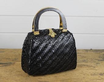 Vintage Black Gold Lesco Lona Bag Purse, Black Woven, Designer, Gold Handles, Gold Latch, Wicker Style, Black Purse, Black Bag, Shiny, Old