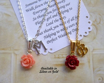 Personalized Flower Girl Necklace, Personalized Bridesmaid Necklace, Personalized Bridesmaid Jewelry, Personalized Flower Girl Jewelry