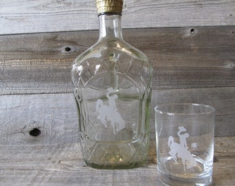 Etched Crown Royal Bottle with Wyoming Bucking Horse, 1.75 L