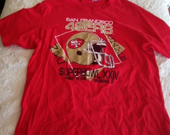 San Francisco 49ers T-Shirt NFC Champs Superbowl XXIV 1990, Vintage SF Niners Tee 1990, San Fran SuperBowl T Shirt Red Size Large