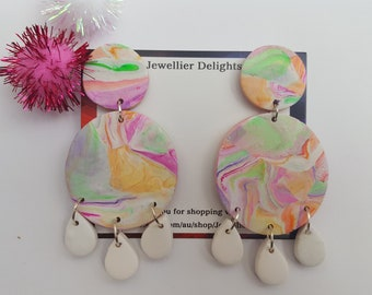 Juliette White Marble Dangles