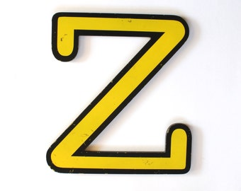 Vintage Large Yellow and Black Plastic Sign Letter Z