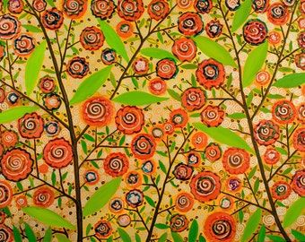 """Original Modern Abstract Acrylic Painting Heavy Texture Impasto Landscape Tree Leaves """"Lollipop Tree"""" by QIQIGALLERY"""