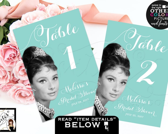 "Bridal Shower Table numbers, Breakfast at bridal themed table numbers, cards, signs, guest seating, printable file {5x7""}"