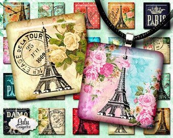 Eiffel digital collage sheet, 1 inch square images, printable images, Paris embellishment, pendant images, digital stamp, printable stickers
