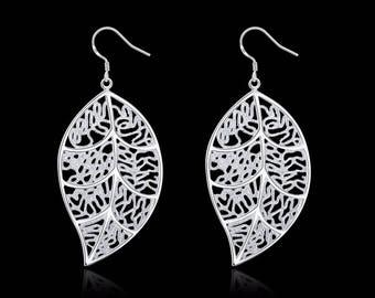 Silver Leaf Shaped Earrings for Ladies