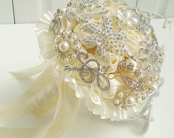 Luxury Ivory Wedding Bouquet Handmade Roses with Jewels Pearls and Satin Silk Ribbon Bridal Bouquet or Bridesmaid Bouquet Wedding Flowers