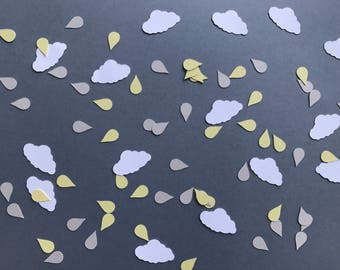 White Clouds and Yellow and Grey Rain Drop Confetti - Neutral Baby Shower Decor - Rain Shower Baby Shower Decorations - Baby Shower Decor