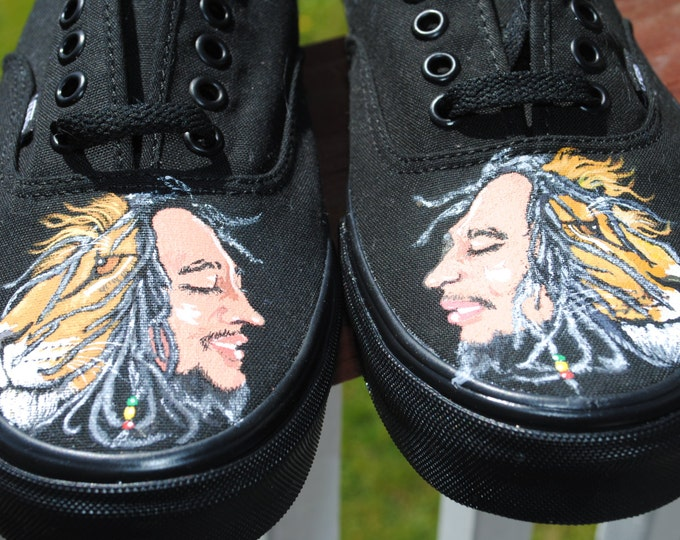 New Hand Painted Design BOB MARLEY and the Lion size 9.5 Men's Vans  ----- sold -------