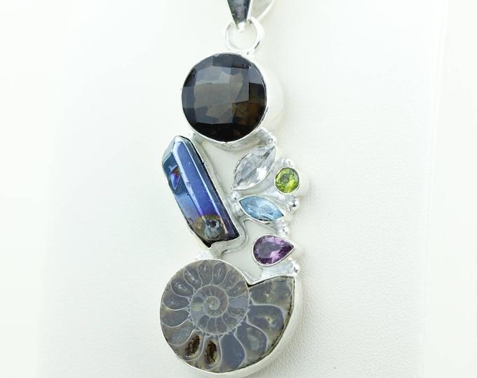 Titanium Drusy Ammonite Fossil Peridot Amethyst Topaz 925 S0LID Sterling Silver Pendant + 4MM Snake Chain & Worldwide Shipping p4012