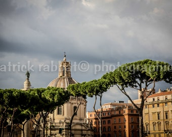 Rome Photo Rome Charm Photo Fine Art Photography European Old World Charm Romantic Rome Italy Old Buildings Roman Trees Home Decor Wall Art