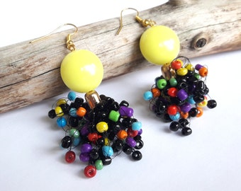 Black rainbow seed bead earrings colorful airy dangle beaded earrings air multi color black earrings gift for her