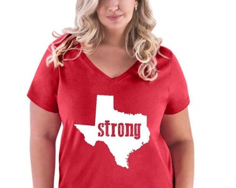 Strong Texas   Women Curvy Plus Size V-Neck Tee