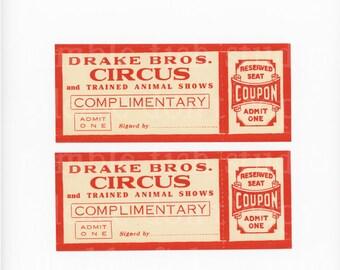 Vintage - Drake Bros. Circus Tickets