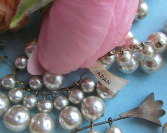 """Vintage Japanese Glass Pearl Drops  """"Double Decker"""" On Headpins"""