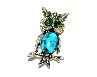 Owl brooch, vintage faux turquoise green eyed owl pin