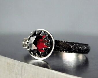Garnet ring, Sterling silver, red gemstone, January birthstone, Medieval style