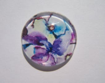 Purple cabochon 20 mm with a flower pattern