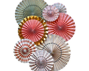 Pink Coral and Mint Paper Rosette Backdrop | Gold Paper Pinwheel Fans Mint and Coral Baby Shower Party Pinwheel Backdrop Paper Fan Backdrop