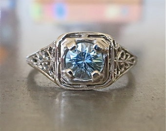 Edwardian Engagement Ring-Antique Blue Zircon Engagement Ring-Unique Engagement Ring- 1920s Engagement-Natural Zircon-Aquamarine Engagement