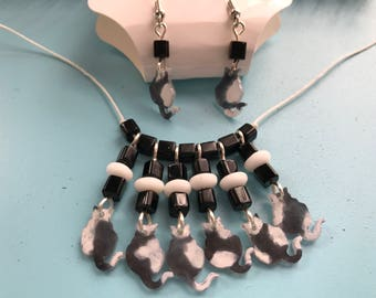 Sittin' Pretty Kitty Necklace and Earring Set