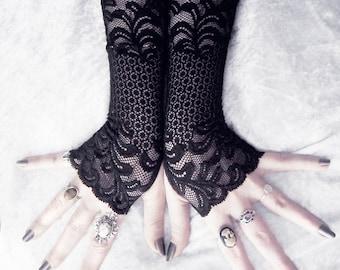 Lace Fingerless Gloves - Black Floral Vine Scroll Long - Allegory - Gothic Bridal Vampire Wedding Dark Tribal Bellydance Burlesque Goth Mori