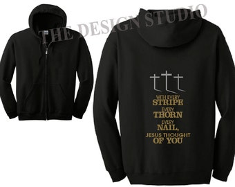 Christian Sweatshirt, Religious Hoodie, She is Clothed with Strength, Inspirational Hoodie, Full Zip Sweatshirt, Scripture Sweatshirt