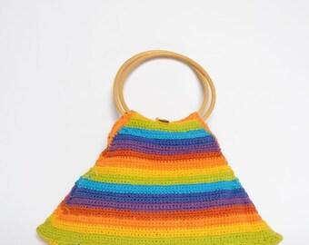 Vintage 90's Knit Rainbow Handbag with Wood Handles