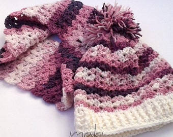 NOELA set crochet pattern - Hat with infinity scarf. Winter hat and scarf set. Full of large pictures! Permission to sell finished items.