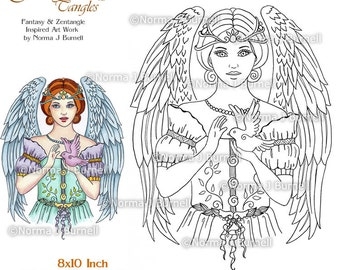 Angel Blessing Fairy Tangles Printable Coloring Pages and Coloring Sheets by Norma Burnell Angels to color Adult & Digital Coloring Angels